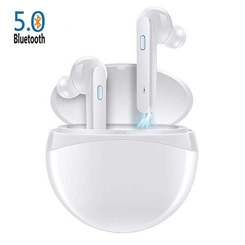 Bluetooth 5.0 Stereo True Wireless In Ear Ohrhörer Sport Kopfhörer 40 Stunden Spielzeit IPX4 Wasserdicht Drahtlos kabellose Headsets Binauraler Aufruf für IOS Adroid mit Mikrofon (Weiß)*