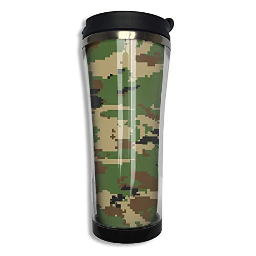Stainless Steel Army Green Camouflage 3D Print Coffee Mug Double Wall Vacuum Insulated Tumbler Water Coffee Cup