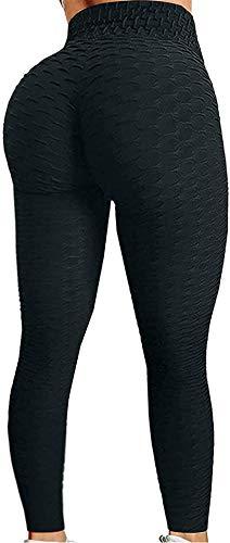 Blivener Women's Yoga Pants Butt Lifting Anti Cellulite High Waist Workout Legging Bubble Tummy Control Yoga Tights Black XX-Large