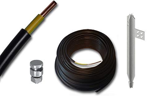 Erdungskabel NYY-J 1x16 mm² - Mantel: schwarz - Isolierung: grün/gelb - Litze: Kupfer starr + Staberder Kreuzerder in 1 Meter Länge + Anschlussklemme 1-fach + Kabel, viele Längen von 5 Meter bis 100 m