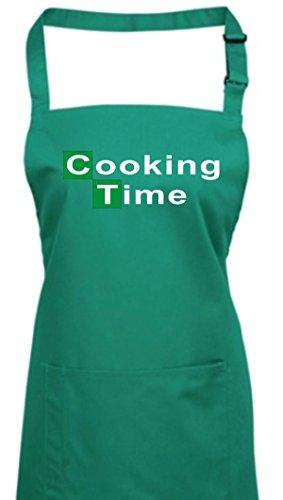 Delantal, Breaking BAD Heisenberg Colour blanco cooking time muchos coloures, algodón, verde esmeralda, 72 cm x 86 cm
