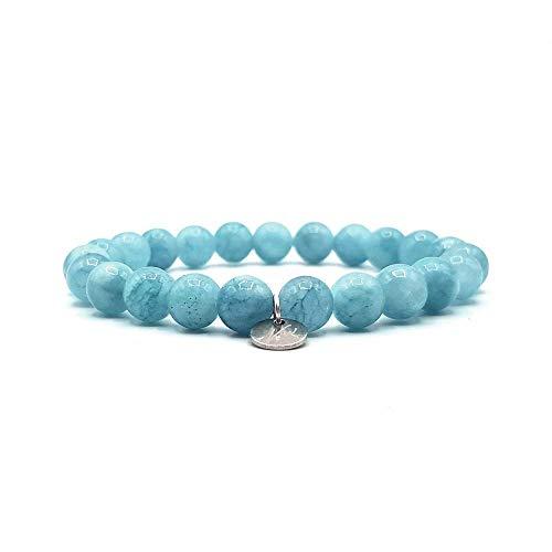 KARDINAL WEIST Aquamarin Armband, Edelstein Perlen, Kraftstein Schmuck für Damen und Herren, Chakra - Glücksbringer - Freundschaft (M (Aquamarin-Einzelarmband))