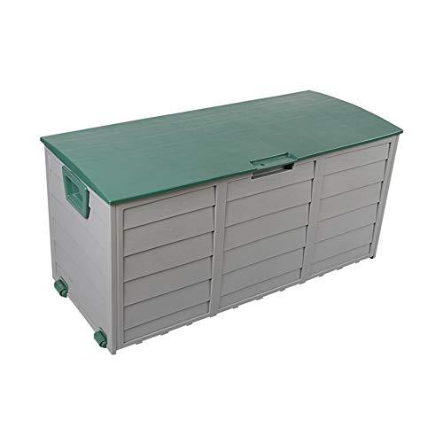 Rebecca Mobili Baule Contenitore 290 Lt Plastica Verde Grigio Chiaro Multiuso Giardino Attrezzi Legna H 54 x L 112 x P 49 cm (cod. RE6330)