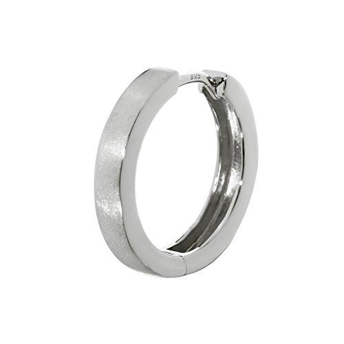 NKlaus Silber Einzel 925er Sterlingsilber Klappcreole Ohrring 16mm matt anlaufgeschützt 4794