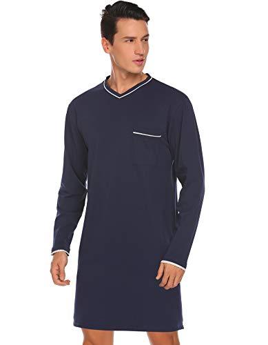 Avidlove Nachthemd Herren Langarm Baumwolle Modisches Schlafanzugoberteil Schlafshirt Grau S EU 46 48