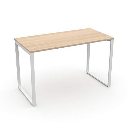 LEVIRA – Mesa de Comedor, Mesa de Oficina, Escritorio, Fulda - 120 x 74 - Blanco y Roble Blanco
