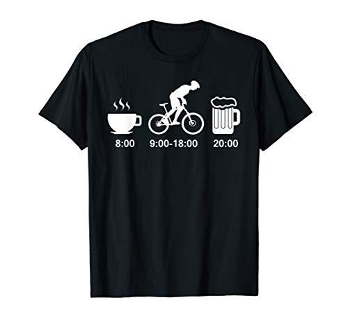 Lustige Tagesplan Kaffee Fahrrad Fahren Bier Sprüche T-Shirt