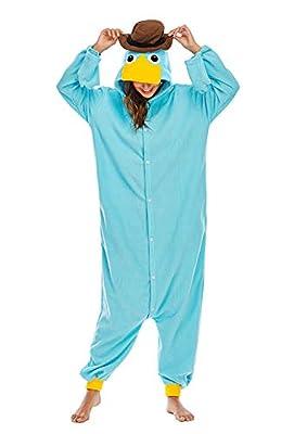 Unisexo Adulto Animal Pijama Cosplay Disfraz con Capucha Onesies Kigurumi Pyjama Homewear Mamelucos Ropa De Dormir para Carnaval Halloween,LTY117,Ornitorrinco,M