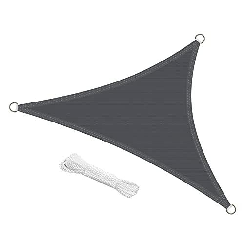 swift Toldo Vela de Sombra Triangular 3x3x3 Metro HDPE Transpirable Protección Rayos UV para Patio Exteriores Jardín, Color Antracita