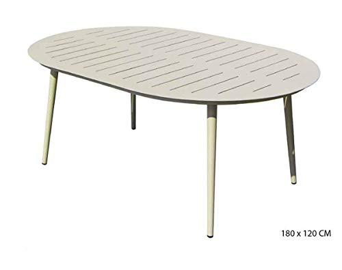 PEGANE Table Ovale en Aluminium Coloris Sable- 180 x 120 cm