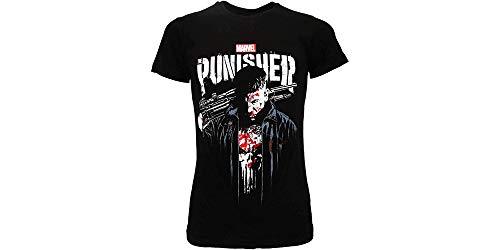 Fashion UK T-Shirt Punisher Originale Serie TV Netflix Prodotto Ufficiale Frank Castle punitore Maglia Maglietta Nera (XS (10-14 Anni))