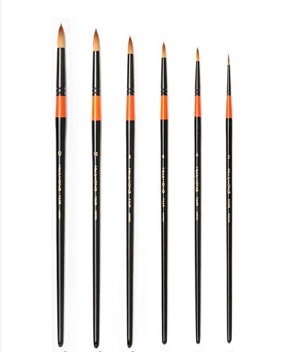 HWAHONG 700R Round Pointed Tip Paint 6pcs Brushes Set for Watercolor