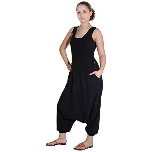 KUNST UND MAGIE Hippie Latzhose Haremshose Hose PSY Goa 70er Overall, Farbe:Black/Schwarz, Größe:XL
