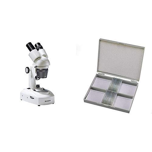 Bresser 3D Stereo Auflicht- Durchlicht Mikroskop Researcher ICD LED 20x-80x Vergrößerung & Dauerpräparate für Mikroskop (25 Stück), vorgefertigte und konservierte Präparate zu verschiedenen Themen