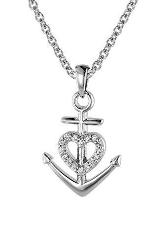 trendor Glaube Liebe Hoffnung Anhänger mit Damen-Halskette Silber 925 Kette 08813