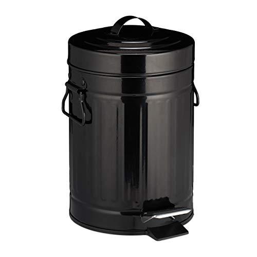 Cubo Basura Pedal «Retro» con Recipiente Interior para Baño y Cocina, Acero Inoxidable Plástico, Negro, 3 L
