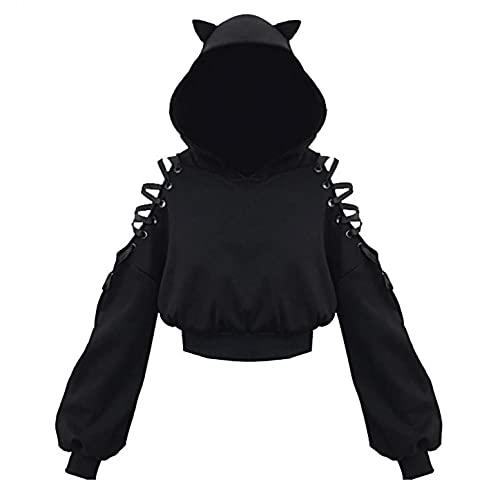 Aniywn Teen Girls Hoodies Cute Cat Ear Crop Top Gothic Hooded Sweatshirt Women Casual Long Sleeve Pullover Hodies Black