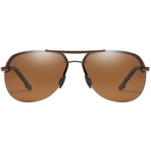 Hancoc Trend New Street Shooting - Gafas de sol polarizadas con material de metal silvestre para hombre y mujer con las mismas gafas de sol de conducción (color: marrón)