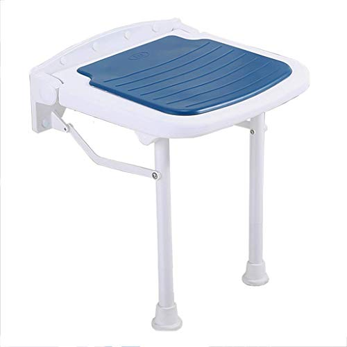 Home Shower Chair Bathtub Seat Bath Seat Shower Chair Shower Stool Wall Mounted Drop Leaf Stool Foldable Shower Seating Chair Folding Disability Blue High:450mm