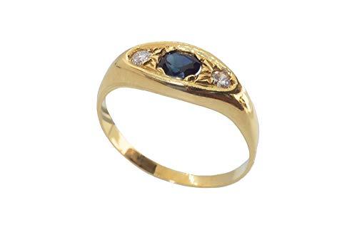 Herenring van 18-karaats goud met saffier en diamanten – 18 karaat gouden ring met saffier en diamanten.