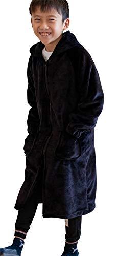 ナイスデイ mofua (モフア) 着る毛布 スリーパー ブラック キッズ Free (110-140cm) もこもこ ルームウェア 62030710