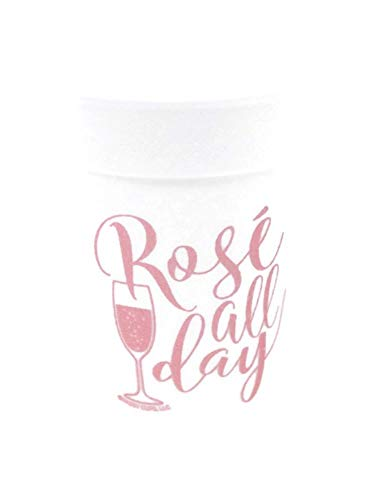Rose' All Day Styrofoam Party Cups (10 (16 Oz.) Pack - White with Rose' Colored Lettering Printed Front & Back