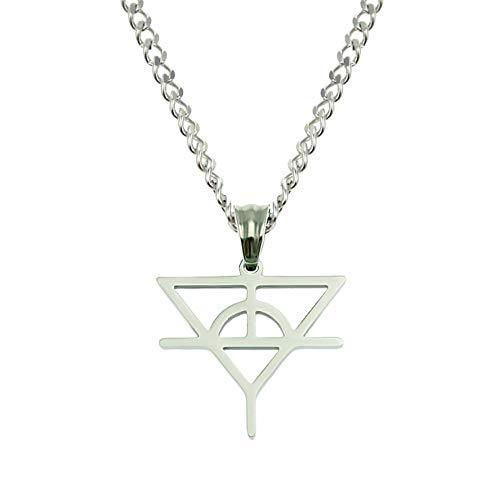 N/A Halskette Individualität Symbol Zeichen Anhänger Trendy Herren und Womens Nachtclub Bengdi Titan Stahl Halskette Anhänger Silber Farbe (Symbol) -0,3 * 60 cm Edelstahl kubanische Kette