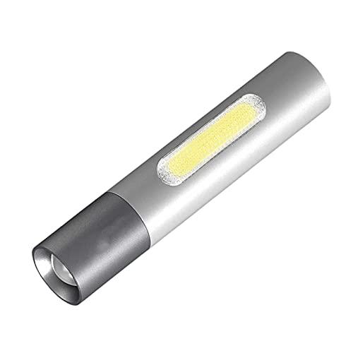 yunyun Linterna,aleación De Aluminio para Exteriores Linterna Led,luz Lateral, Corriente De Alto Brillo Linterna Tactica,4 Modos(Plata,Negra)