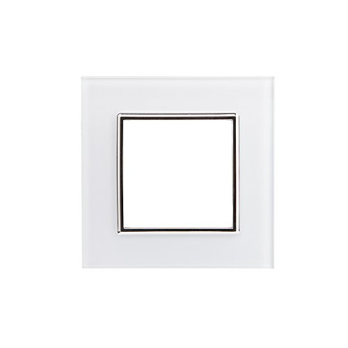 Bresetech DESIGN TOUCH LICHTSCHALTER GLAS STECKDOSEN Schalter System Steckdose Einsatz (611 Steckdose Rahmen WEISS)