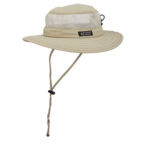 Dorfman Pacific Men's Bonnie Mesh Sides Hat, Khaki, Medium