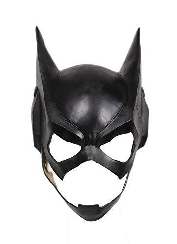 Mesky Maschera Batgirl Cosplay Piena Testa in Lattice Nero Accessorio Costume Halloween Carenvale Taglia Unica per Unsiex Adulti Donna