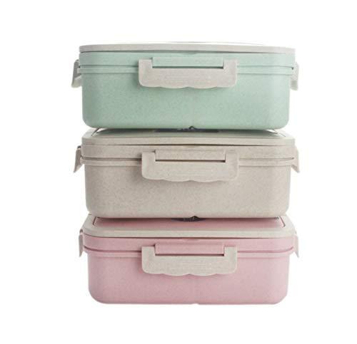 Weizenstroh Brotdose 900mlmit Fächern, BPA & plastikfrei, Federleicht, Auslaufsicher, Lunchbox für Kinder & Erwachsene, Bento Box