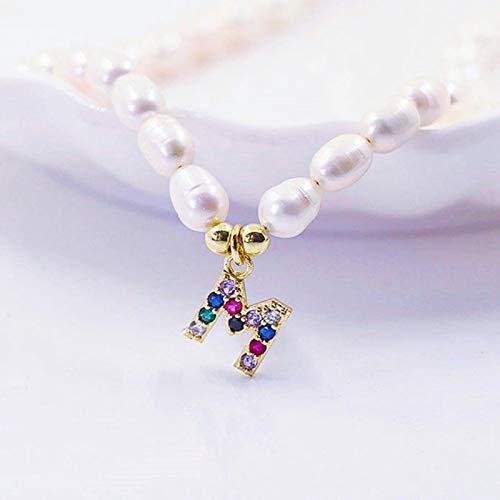 Collar de Gargantilla con Letras de Perlas de Agua Dulce Natural a la Moda para Mujer, joyería con Colgante de Nombre de Alfabeto con Inicial 26 de Perlas para Mujer