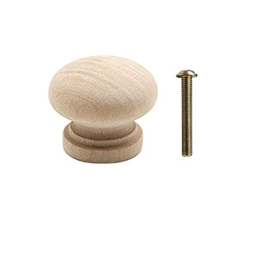24/27/32 mm de repuesto de madera natural cajón perillas de armario manijas de la puerta del armario tirador de cocina cajón muebles herrajes, sin terminar, 32 mm, 10 piezas