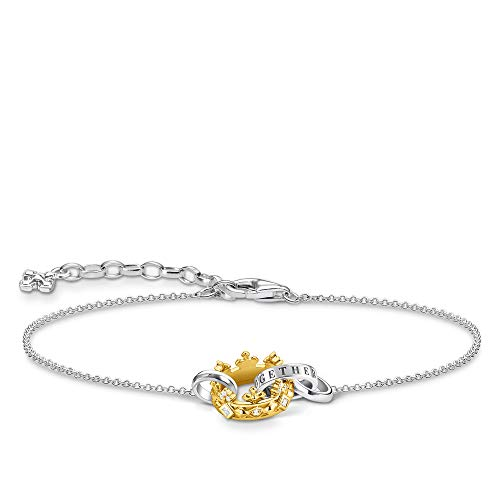THOMAS SABO A1982-849-14 Women's Bracelet Crown Gold 925 Sterling Silver Blackened 750 Yellow Gold Plated