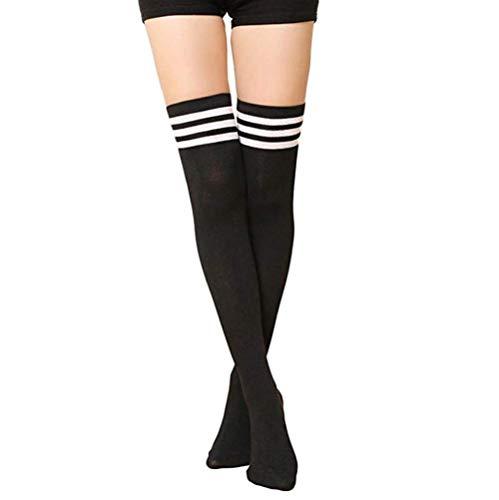 Wide.ling Damen Mädchen Kinder Cheerleader College Kniestrümpfe mit 3 Streifen Gestreifte Overknees Über Knie-Lange Geringelte Strümpfe Geringelt Gestreift Streifen Schwarz Weiß Rot Rosa (Schwarz)