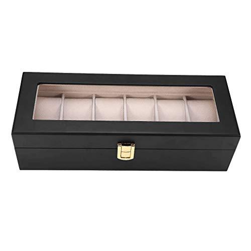 GFDFD Caja De Almacenamiento De Pantalla De Vidrio For 6 Relojes con Almohadas Desmontables Desmontables, Color: Negro