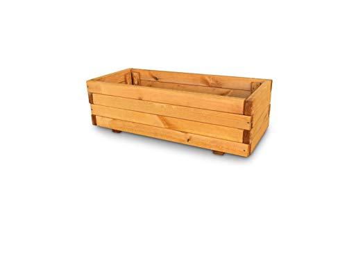 GartenDepot24 Jardinière en bois de pin - L90 x l27 x H40 cm