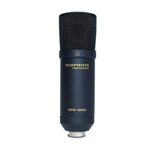 Marantz Professional MPM-1000U - Micrófono de Condensador USB con tarjeta de sonido incorporada para grabar, emitir pódcasts, hacer streaming y retransmitir videojuegos, negro