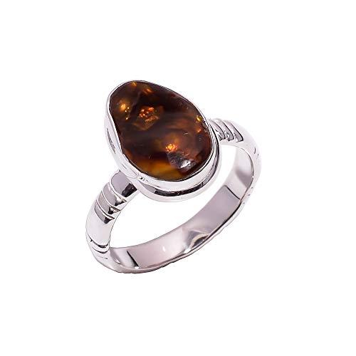 Damen-Ring aus 925er Sterlingsilber, Größe 54, natürlicher mexikanischer Feuerachat, handgefertigt, CR5592