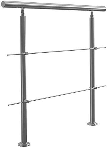 XHCP Treppenhandlauf aus Edelstahl, für den Innen- und Außenbereich Balkon, Treppenhandlauf Länge: 100 cm / 120 cm, 2 Querstangen, mit Installationssatz