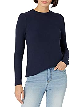 Daily Ritual Women s Rayon-Spandex Fine Rib Standard-Fit Long-Sleeve Crewneck T-Shirt Navy Large
