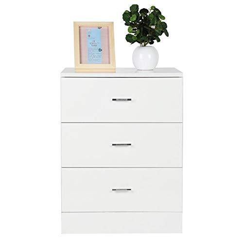 Het witte nachtkastje bestaat uit hoogwaardig MDF-karton met een grote commode met 3 laden (60,00 x 45,00 x 35,00 cm).
