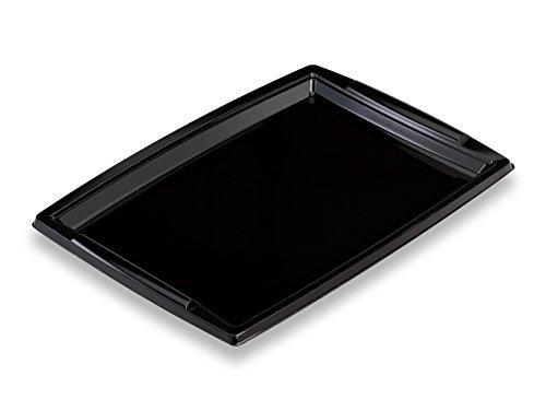 GUILLIN - FESTIPACK PLC3625N CARTON DE 50 Plat de Service Festif Rectangulaire avec Poignées, Plastique, Noir, 36 x 25,3 x 1,8 cm