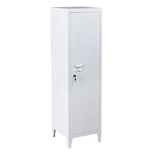 Furniture-R France Schlüsselschrank, Spind, Metall-Aktenschrank mit Schloss, Aufbewahrungsschrank für Wohnzimmer, Badezimmer, Büro, weiß