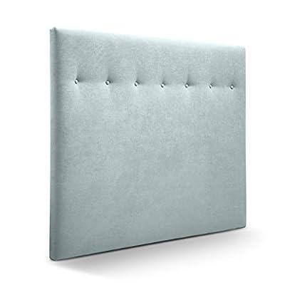 Cabecero tapizado acolchado para dormitorios con estructura en madera de pino Cabecero de cama acolchado con espumación HR Cabecero tapizado en tela antimanchas/polipiel Para camas de 150 (160 x 120 cm) tela verde agua