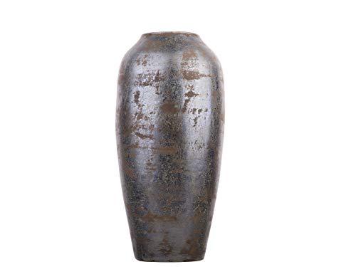 Beliani Klassische Dekovase Retro Stil Terracotta Antik- Optik dunkelgrau Lorca