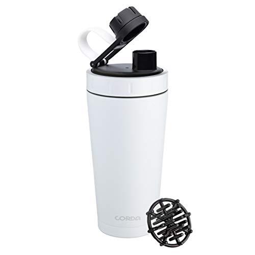 Corda Doppelwandiger Protein-Shaker aus Edelstahl mit Ball | Isolierte Workout-Flasche | Workout-Mixer für Fitnessstudio oder Zuhause, Weiß - kleines Logo, 700 ml
