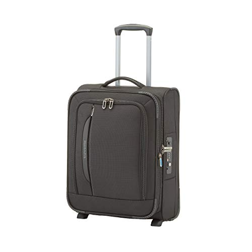 travelite 2-Rad Weichgepäck Koffer Handgepäck erfüllt IATA Bordgepäck Maß, mit TSA Schloss + Laptopfach, Gepäck Serie CROSSLITE: Robuster Trolley im Business Look, 089507-01, 54 cm, 42 L, schwarz