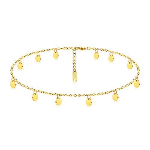 Kim Johanson Edelstahl Damen Fußkettchen *Coins* in Silber, Gold & Roségold | Fußkette mit 12 runden Plättchen | Boho Schmuck | Verstellbar inkl. Schmuckbeutel (Gold)